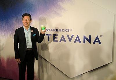 新ブランド「TEAVANA」の発表会に登壇したスターバックス コーヒー ジャパンの水口貴文CEO