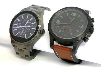 「Fossil Q」シリーズのスマートウォッチ「Qマーシャル」(左)と、ハイブリッドスマートウォッチ「Qネイト」(右)