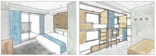 「CARRIAGE CLASS」(ダブルベッドルーム/2段ベッドの2タイプあり)は1泊(1室)/1万1800円~2万4000円(仮)。スタンダード/コンパクト/ミニなどいくつかのタイプを選択可能。2段ベッドでのグループ使用が可能なバックベッドタイプの部屋もある