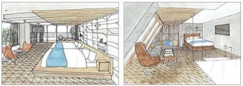 ペントハウスもある「CARAVAN CLASS」(最上位のキングベッドルーム)は、1泊1室4万1000円~5万円(仮)。すべての部屋にゆったりとした広さのバスルームがついているのも特徴