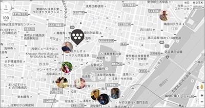 ホテルのウェブサイトでは地図からアンバサダーのおすすめスポットを探せる