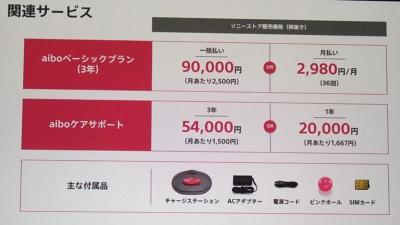 アイボを使うためには、ソニーのAIやクラウドサービスの契約が必須で、3年一括払いだと9万円となる。その下のaiboケアサポートは、故障の際の修理代金を割り引くサービスだ
