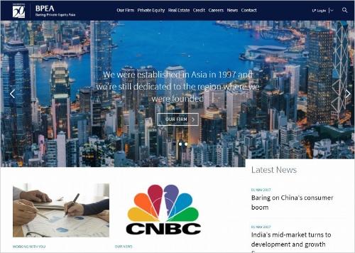 """<a href=""""http://www.bpeasia.com/"""" target=""""_blank"""">ベアリング・プライベート・エクイティ・アジアのホームページ</a>。年金や生命保険など長期運用の機関投資家が資金を拠出している"""