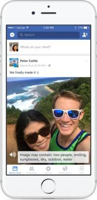 Facebookに導入された写真の内容を説明する機能。写真の内容を自動で認識し、音声で読み上げる