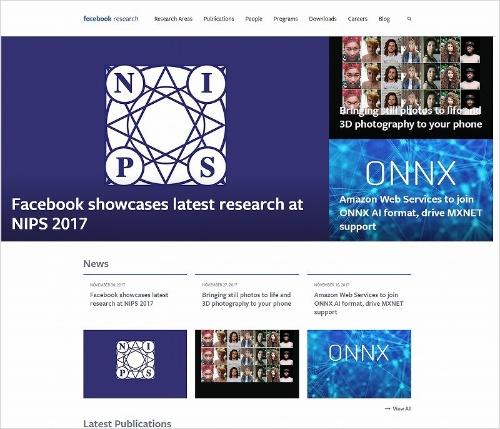FAIRをはじめ、Facebookの研究チームのウェブサイト。FAIRはサイトなどでも研究結果を公表している