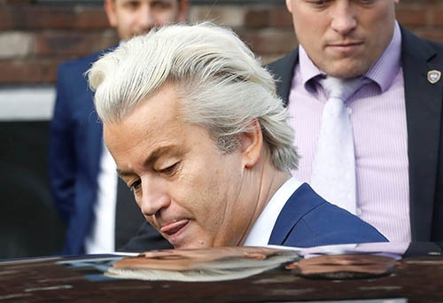3月15日に実施されたオランダ下院選挙。投票締め切り後の出口調査によると、与党の自由民主国民党が最多の33議席を獲得し第1党となる見込み。ヘルト・ウィルダース党首(写真)率いる極右の自由党は獲得議席数が20と伸び悩んだ。