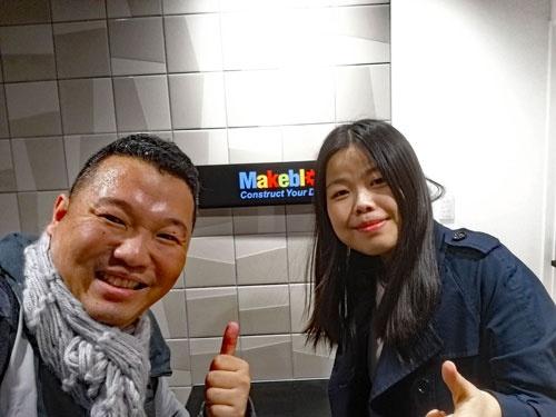 僕とアリス。2017年末、できたばかりのMakeblock東京オフィスで