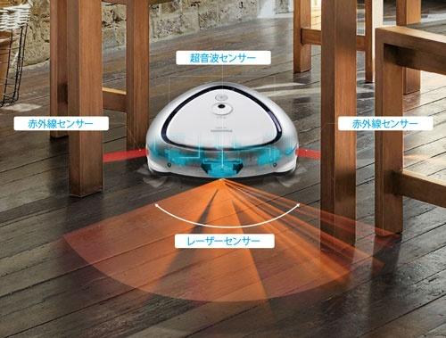 3種類の障害物検知センサーで約2cmの幅の障害物まで検知