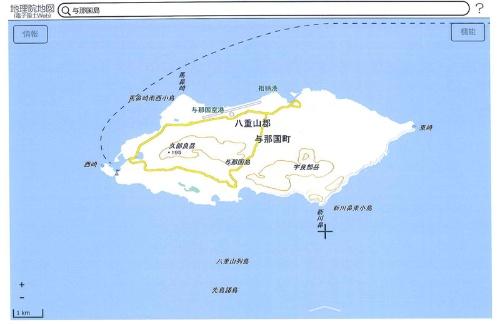 与那国島全体図(出典:国土地理院「地理院地図(電子国土Web)」より)