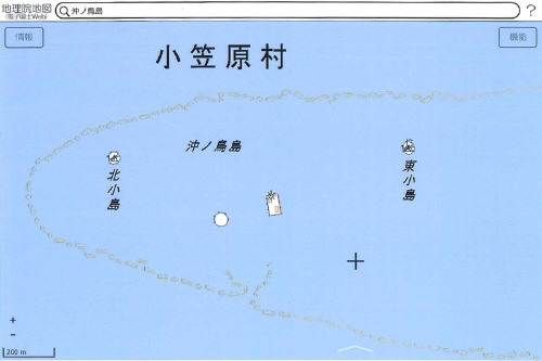 沖ノ鳥島地形図(出典:国土地理院「地理院地図(電子国土Web)」より)