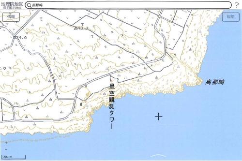 高那崎付近(出典:国土地理院「地理院地図(電子国土Web)」より)