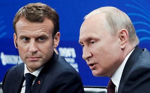 5月24日、サンクトペテルブルクでプーチン大統領はマクロン仏大統領と会談した。写真は同25日のサンクトペテルブルク国際経済フォーラム(写真:代表撮影/ロイター/アフロ)
