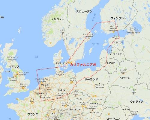 北海バルト海地域に集中する欧州のイノベーション先進国家(点線はほぼカリフォルニア州の大きさを示す)(Google map上に筆者作図)