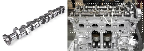 画像左が「カムシャフト」。エンジンは空気と燃料を混ぜて点火し、その爆発力を回転力に変えて車輪を動かす。爆発に必要な空気を吸いこんだり、燃やした後のガスを吐き出したりするためにいくつものバルブがあり、そのバルブが動くタイミングをカムシャフトが決める。カムシャフトの楕円形の「カム」の部分が、バルブと繋がっているロッカーアームと触れることでバルブが開閉する。カムシャフトはアクセルを踏んでいない状態でも1秒間に10回転(4サイクルエンジン、アイドリングが1200回転/分として)していて、アクセルを踏み込めば猛烈な勢いでロッカーアームと擦れ合う。スムーズに動作するようにカムの表面はぴかぴかに磨き込まれている。画像右はエンジンで、点線で囲んだ部分が「シリンダーヘッド」。矢印の箇所にカムシャフトが2本組み付けられている。カムシャフトなどの高速で動く部品を支えるための精度、高熱に耐えるための冷却水の通り道などの加工が必要だ。ちなみに燃料と空気の爆発は、シリンダーヘッドの下の、「シリンダーブロック」の開口部に見える、ピストンの上部で行われる。これは解説用のサンプルで、実際には開いていない。(画像:Oleksandr Grechin(左)・yuyangc(右)/Shutterstock.com この画像はタマチ工業、トヨタ自動車のものではありません)
