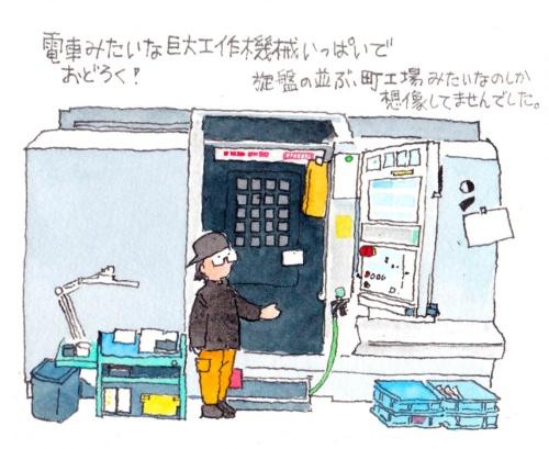 """大きさといい、見た目といい、たしかに電車っぽい。真ん中の""""電車のドア""""のようなところを開けて、加工する材料を出し入れする。どんな加工を施すのかを、液晶パネルで設定する"""