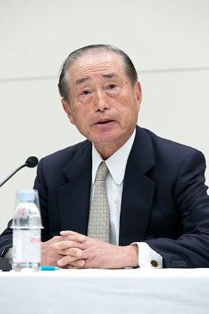 2014年から会長を務めた数土文夫氏(JFEホールディングス元社長)(写真:的野弘路)