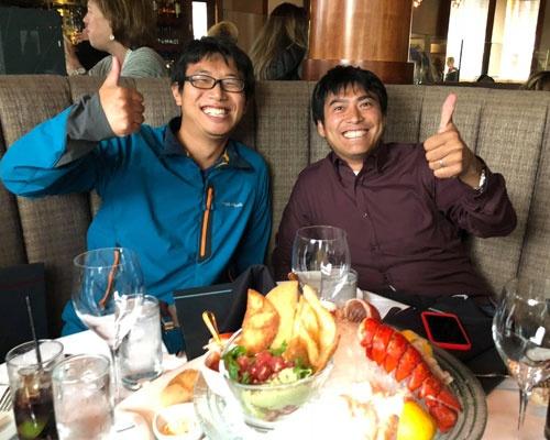 CTOの吉川君と前祝いにやってきました。彼の苦労が、今回の件でも高く評価されました