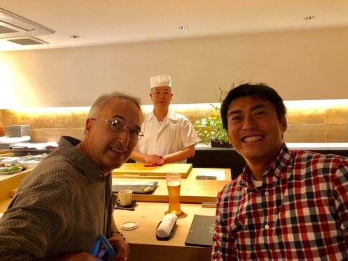 共同創業者のラースさんと銀座の寿司屋にて