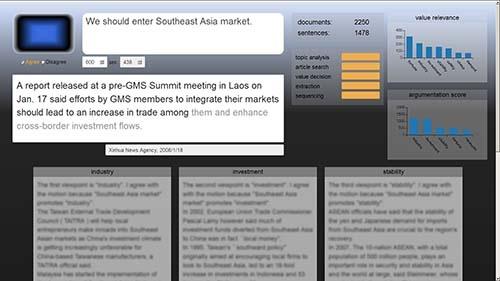 日立製作所が開発を進めている、経営者用の人工知能(AI)の画面イメージ。画像上部の枠内に「We should enter Southeast Asia market.」といった回答をAIが表示。経営判断のサポートに使える