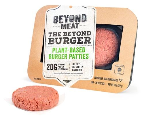 ビヨンド・ミートが販売している、植物性タンパク質で作った「植物肉」で作ったハンバーガー用のパティ「ビヨンド・バーガー」(5.99ドル)