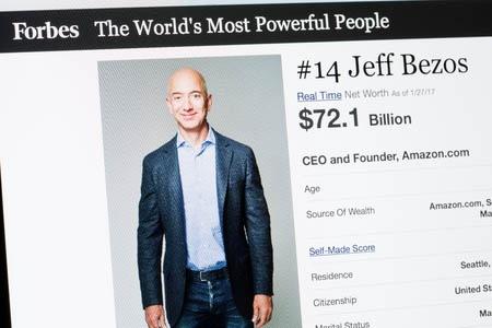 米国のITビッグ5の1社であるアマゾンの創業者・CEO、ジェフ・ベゾス氏。(フォーブス誌の「世界で最もパワフルな人物 [2017年版]」から/写真:grinvalds/123RF)