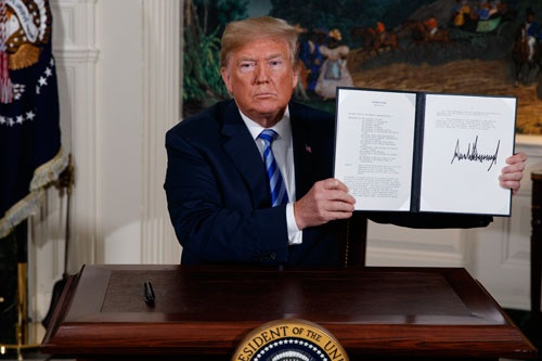 トランプ米大統領は、イラン核合意からの離脱を発表した(写真=AP/アフロ)