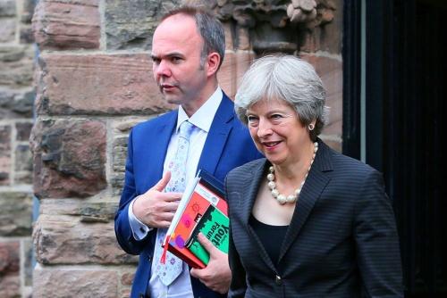 2018年7月20日、北アイルランドを訪問したメイ英首相。EU離脱後の経済協力構想に対する支持を、有権者に訴えた
