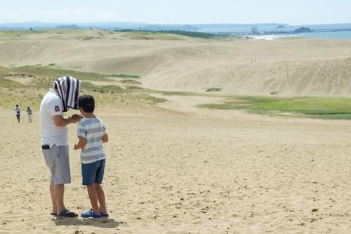砂丘のポケストップは草の生えたエリアに密集している(撮影:菅野勝男)