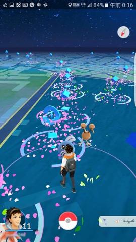 ゲーム内で見た東京・世田谷公園の様子。ルアーモジュールが設置されているポケストップは花びらが散っているように見える