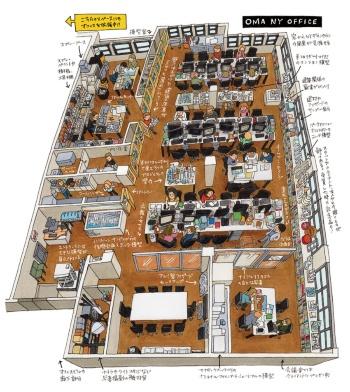 少数精鋭で大きなコンペに挑むニューヨークオフィスのスタッフ(イラスト:kucci)