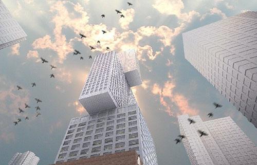 オフィスや住居、ホテル、商業施設などの機能を「積み木」のように重ねるアイデア(資料:OMA)