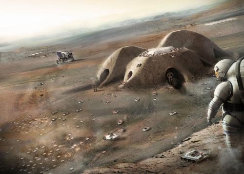 米航空宇宙局(NASA)が主催した火星有人探査基地のコンセプト設計コンペでフォスター事務所が出した案(資料:フォスター・アンド・パートナーズ)
