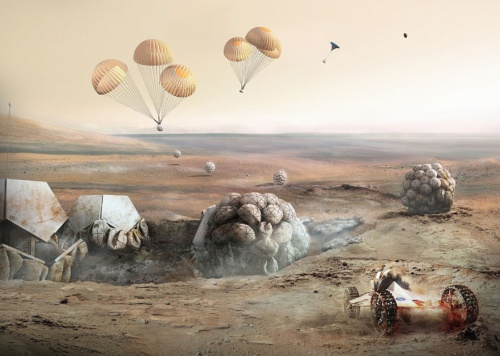 火星にある材料を生かして人間か暮らせる環境をつくる。フォスター事務所が近年特に力を入れたプロジェクトだった(資料:フォスター・アンド・パートナーズ)