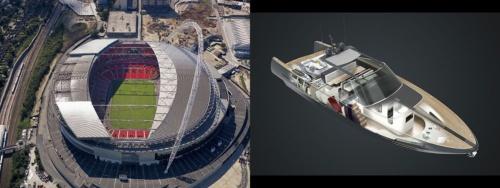 英国サッカーの聖地「ウェンブリースタジアム」と全長42メートルのボートは、同じ設計者がデザインを手掛けた(写真:Nigel Young_Foster+Partners)