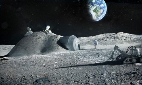 フォスター事務所と欧州宇宙機関が研究する月面基地。遠隔操作の3Dプリンターでドーム状の基地の表面にレゴリスの層をつくる(資料:フォスター・アンド・パートナーズ)