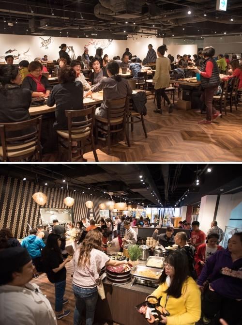外国人観光客でごった返すビュッフェレストラン「伝」(写真:佐藤雅彦)