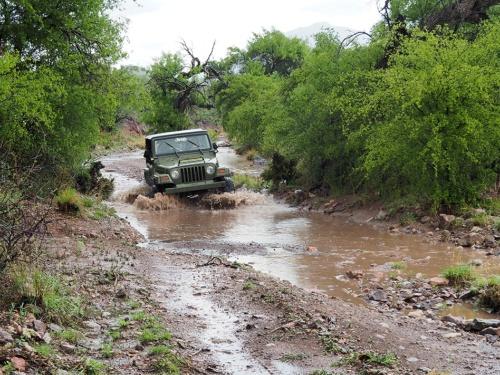 大雨でできた川など何のその