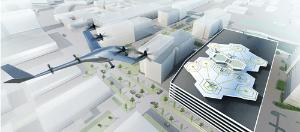 <b>ウーバーテクノロジーズの空飛ぶタクシー「VTOL」。2020年にダラスとドバイで飛行試験をする予定だ</b>