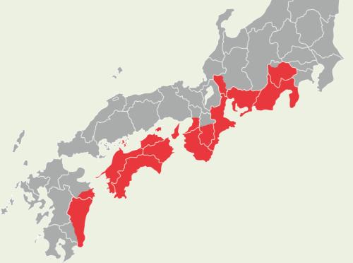 西日本の太平洋側を中心に被災する<br /><small>●内閣府が南海トラフ地震で予想する震度6以上の地域</small>