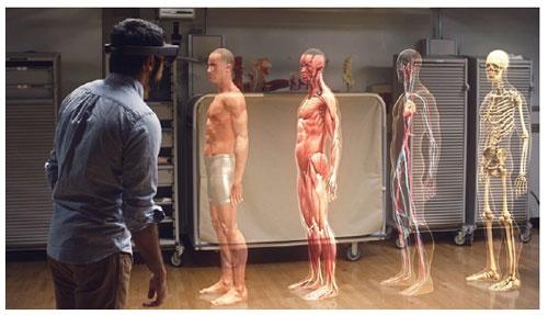 「HoLoLens」で映し出した3Dホログラム(出所:米マイクロソフト)
