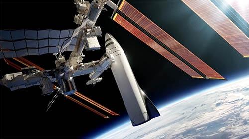 宇宙ステーションとのドッキング。こうやってみると、BFR2段目、でかっ!(画像はSPACE Xの動画から。リンクは記事の最後に紹介します)