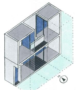 「住吉の長屋」の断面模式図(イラスト:宮沢 洋)