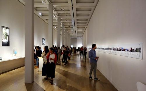 安藤展の導入部、「原点/住まい」の展示風景(写真:日経アーキテクチュア)