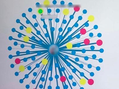 対象の人的ネットワークを可視化する。緑色の点が対象の「裏アカ」の疑いがある人物だ