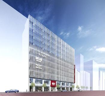 19年に開業予定のMUJI HOTEL(仮称)の完成予想図。新設する無印良品の旗艦店と同じ建物にオープンする。