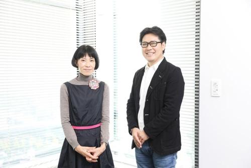 ジンズの田中仁社長(写真右、撮影/鈴木愛子)