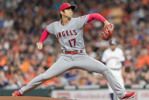 大リーグ、エンゼルスの大谷翔平選手が投手として復帰したアストロズ戦で全力投球した(写真:ユニフォトプレス)