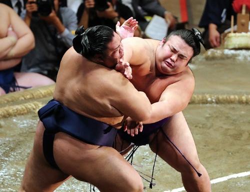 小兵力士の貴景勝(右)が相撲界に旋風を巻き起こす(写真:朝日新聞社)