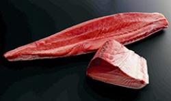 日本水産が発売した完全養殖クロマグロ。飼育時の餌を配合飼料に切り替えた
