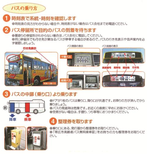 バスを利用しない地域住民へのヒアリングに基づき、「バスの乗り方」を詳細に説明するパンフレットを作成、配布した